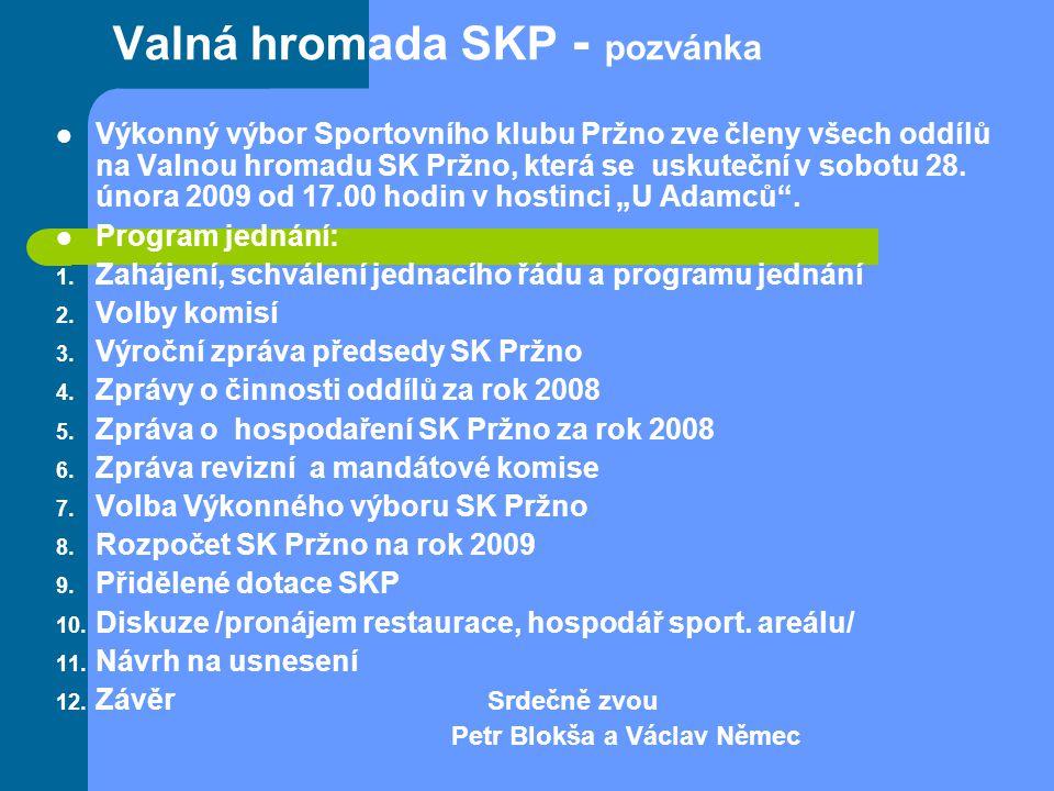 Valná hromada SKP - pozvánka Výkonný výbor Sportovního klubu Pržno zve členy všech oddílů na Valnou hromadu SK Pržno, která se uskuteční v sobotu 28.