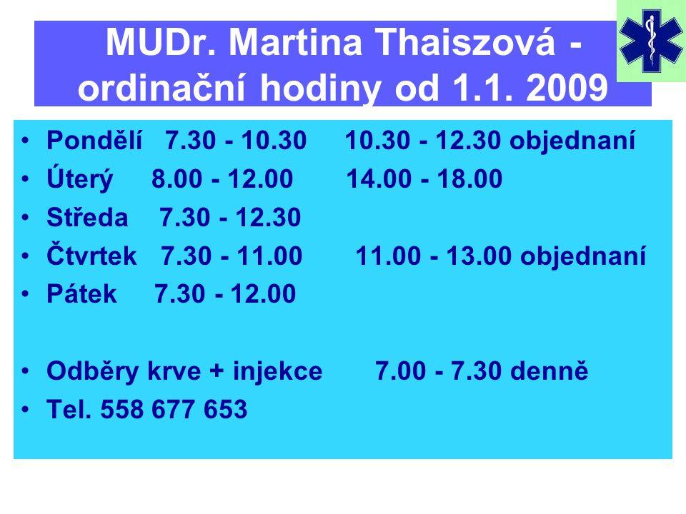 MUDr. Martina Thaiszová - ordinační hodiny od 1.1.