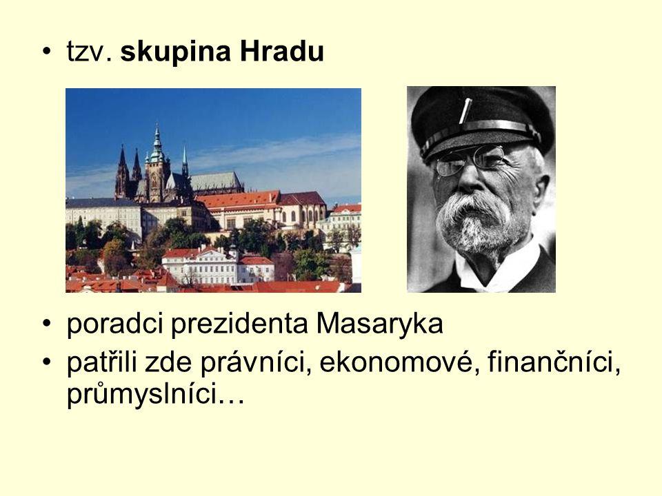 tzv. skupina Hradu poradci prezidenta Masaryka patřili zde právníci, ekonomové, finančníci, průmyslníci…