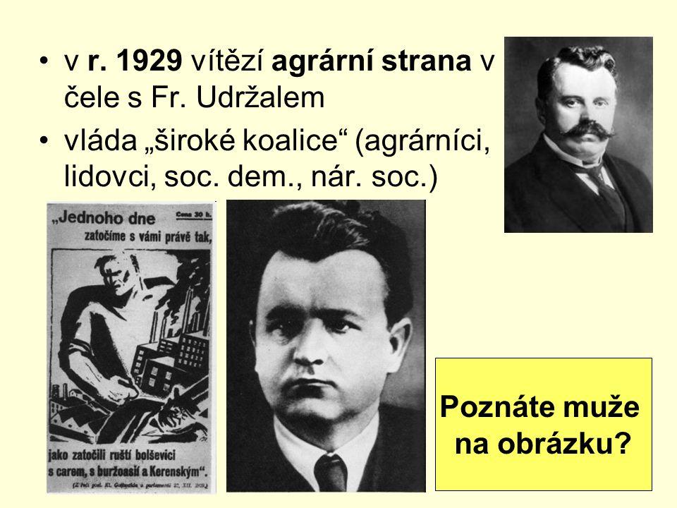 """v r. 1929 vítězí agrární strana v čele s Fr. Udržalem vláda """"široké koalice"""" (agrárníci, lidovci, soc. dem., nár. soc.) Poznáte muže na obrázku?"""