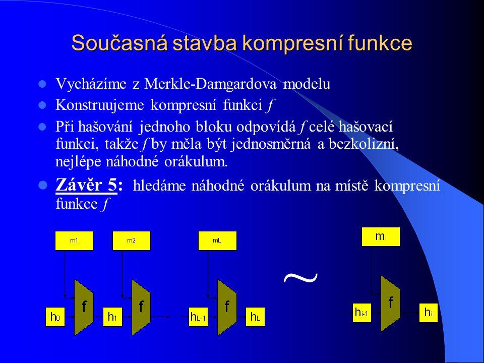 Současná stavba kompresní funkce Vycházíme z Merkle-Damgardova modelu Konstruujeme kompresní funkci f Při hašování jednoho bloku odpovídá f celé hašovací funkci, takže f by měla být jednosměrná a bezkolizní, nejlépe náhodné orákulum.