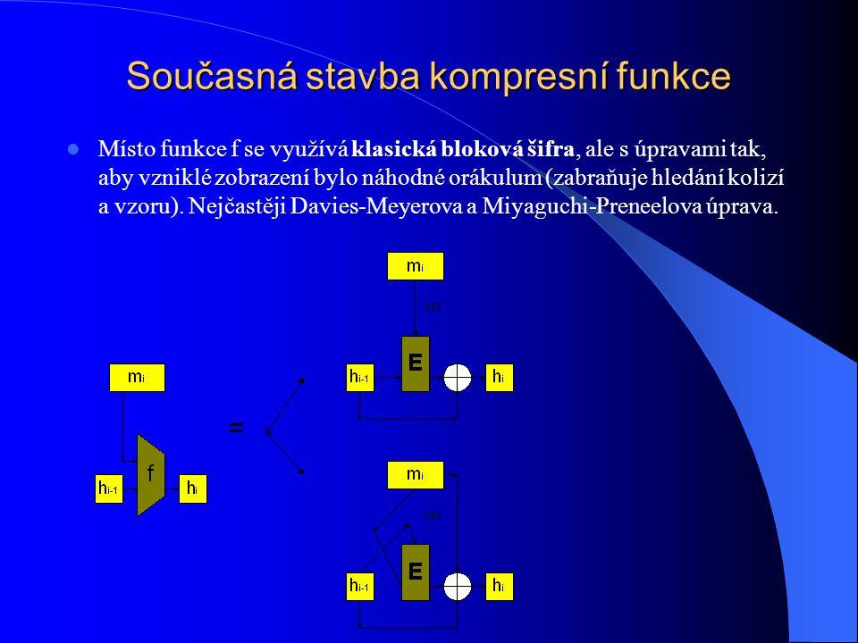 Současná stavba kompresní funkce Místo funkce f se využívá klasická bloková šifra, ale s úpravami tak, aby vzniklé zobrazení bylo náhodné orákulum (zabraňuje hledání kolizí a vzoru).