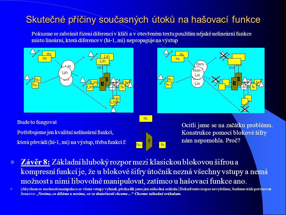 Skutečné příčiny současných útoků na hašovací funkce Závěr 8: Základní hluboký rozpor mezi klasickou blokovou šifrou a kompresní funkcí je, že u bloko