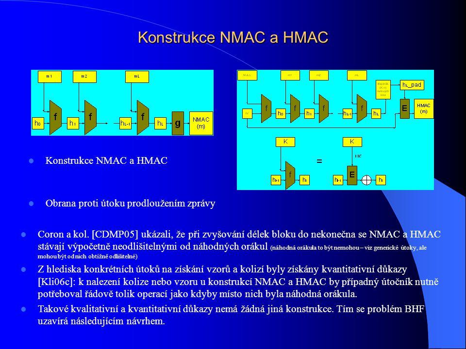 Konstrukce NMAC a HMAC Obrana proti útoku prodloužením zprávy Coron a kol. [CDMP05] ukázali, že při zvyšování délek bloku do nekonečna se NMAC a HMAC