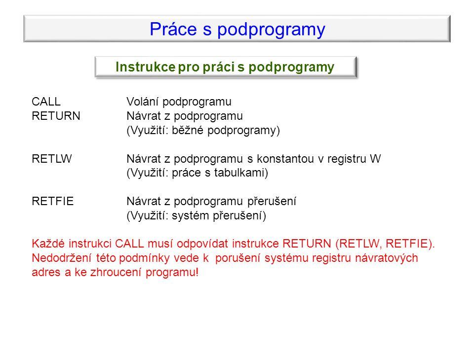 Práce s podprogramy Instrukce pro práci s podprogramy CALLVolání podprogramu RETURNNávrat z podprogramu (Využití: běžné podprogramy) RETLWNávrat z pod