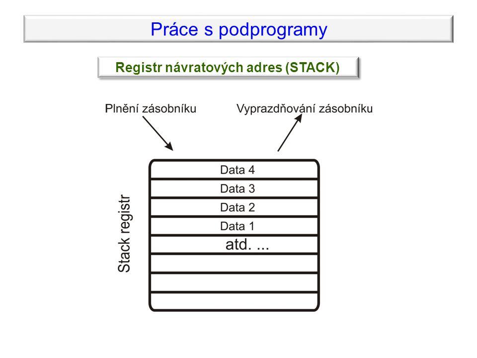 Práce s podprogramy Registr návratových adres (STACK)