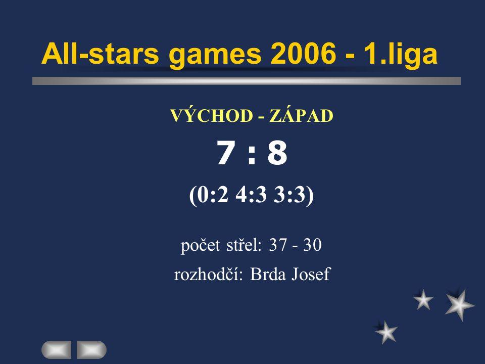 All-stars games 2006 - 1.liga  VÝCHOD - ZÁPAD  7 : 8  (0:2 4:3 3:3)  počet střel: 37 - 30  rozhodčí: Brda Josef