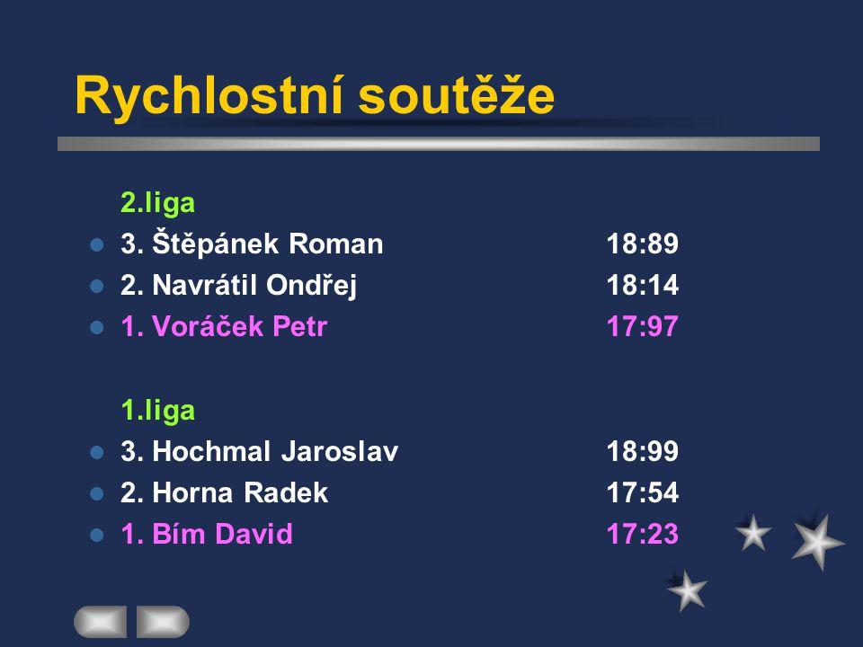 Rychlostní soutěže  2.liga 3. Štěpánek Roman18:89 2.