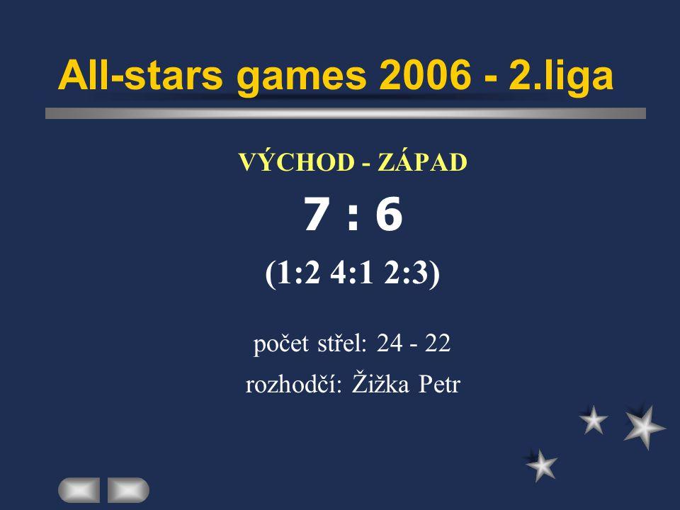 All-stars games 2006 - 2.liga  VÝCHOD - ZÁPAD  7 : 6  (1:2 4:1 2:3)  počet střel: 24 - 22  rozhodčí: Žižka Petr