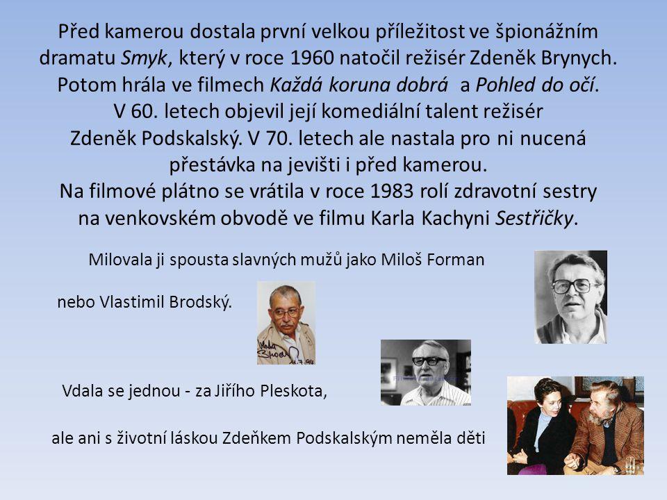Před kamerou dostala první velkou příležitost ve špionážním dramatu Smyk, který v roce 1960 natočil režisér Zdeněk Brynych.