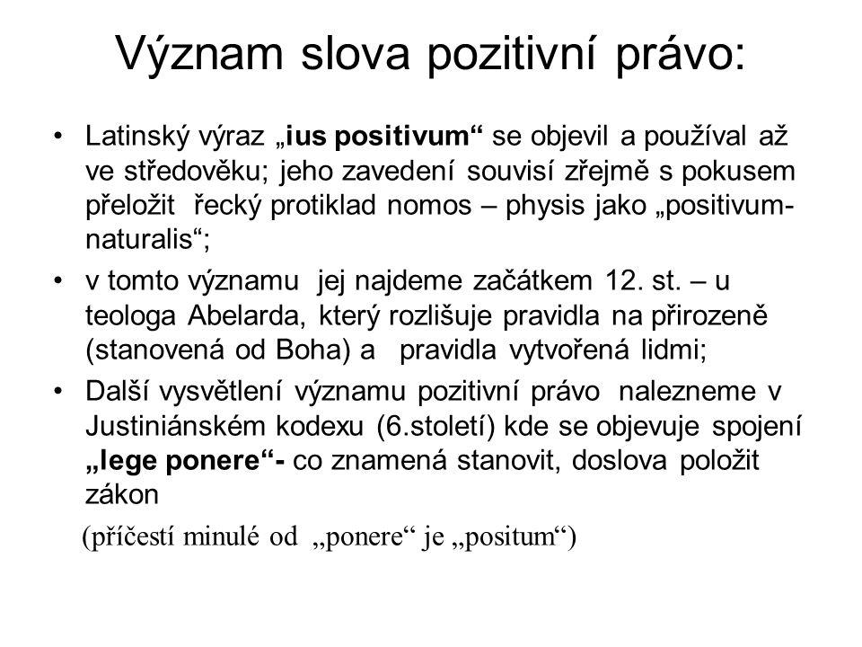 """Význam slova pozitivní právo: Latinský výraz """"ius positivum se objevil a používal až ve středověku; jeho zavedení souvisí zřejmě s pokusem přeložit řecký protiklad nomos – physis jako """"positivum- naturalis ; v tomto významu jej najdeme začátkem 12."""