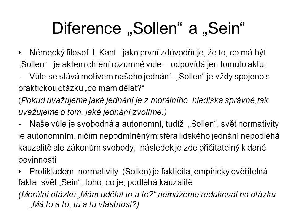 """Právní pozitivismus Radikální diferenciaci """"Sollen od """"Sein zdůvodňuje právní pozitivismus především v podobě Ryzí nauky právní H."""