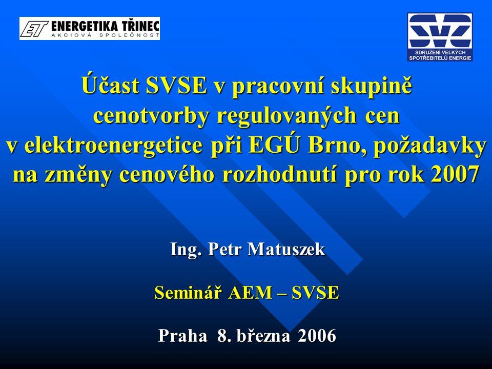 Obsah Úvod Cíl Účast SVSE v pracovní skupině EGÚ Výsledky v roce 2005 Požadavky na změny, další postup Závěr