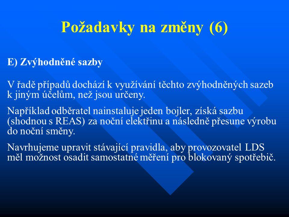 Požadavky na změny (7) F) Připomínky k Cenovým rozhodnutím ERÚ - CR ERÚ č.