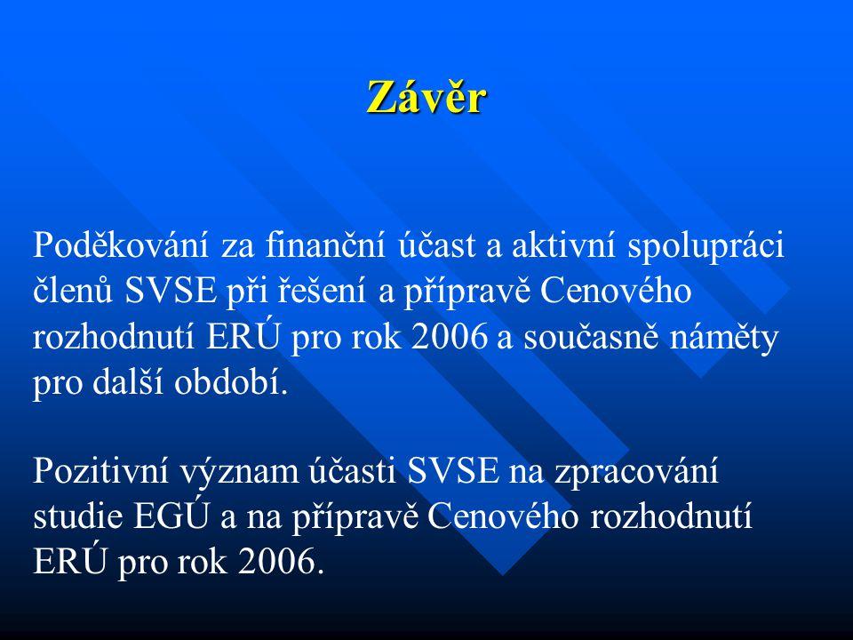 Závěr Poděkování za finanční účast a aktivní spolupráci členů SVSE při řešení a přípravě Cenového rozhodnutí ERÚ pro rok 2006 a současně náměty pro další období.
