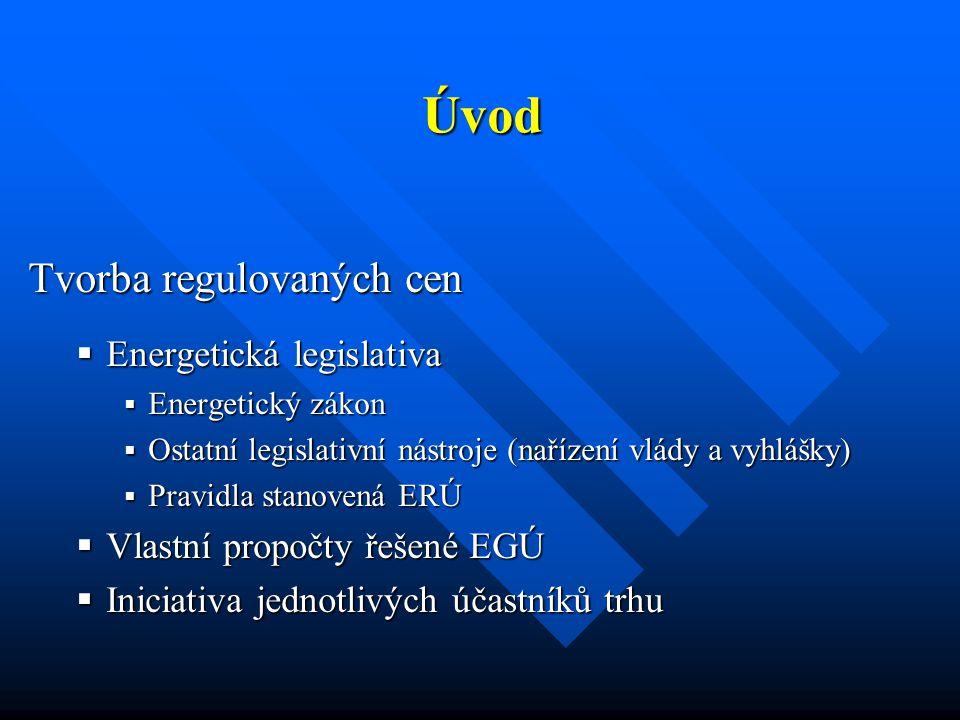 Úvod  ERÚ reguluje ceny monopolních činností  V posledních létech nárůst jak ceny silové elektřiny, tak i cen regulovaných činností  EGÚ Brno je každoročně řešitelem zprávy, která je podkladem pro cenové rozhodnutí ERÚ