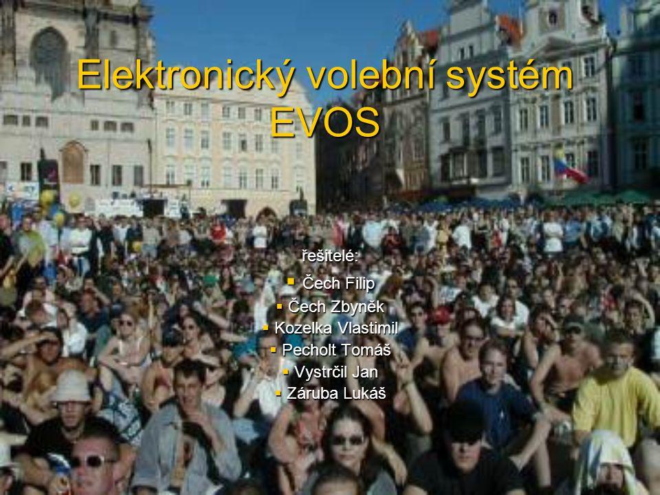 Elektronický volební systém EVOS řešitelé:  Čech Filip  Čech Zbyněk  Kozelka Vlastimil  Pecholt Tomáš  Vystrčil Jan  Záruba Lukáš