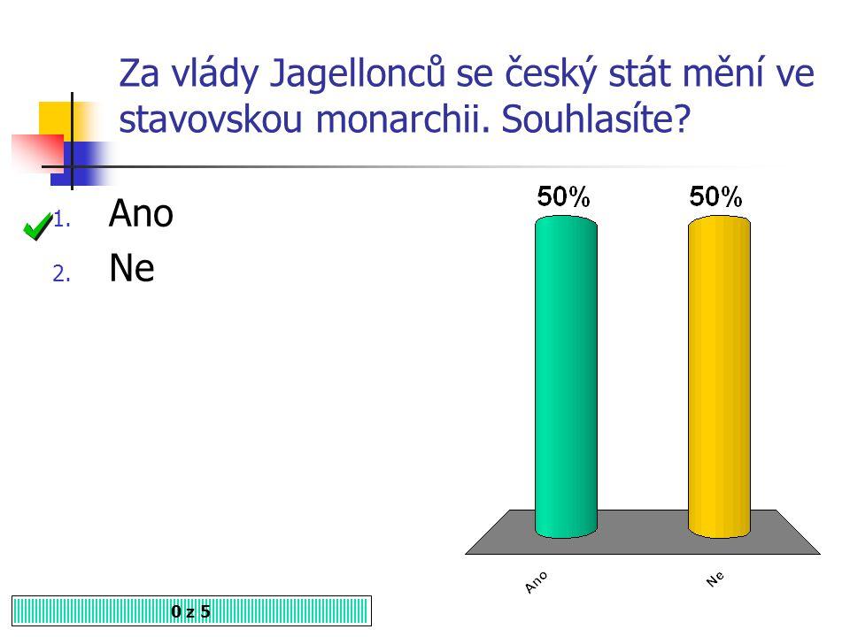Kde sídlil Vladislav Jagellonský? 0 z 5 1. V Praze 2. V Olomouci 3. V Budíně