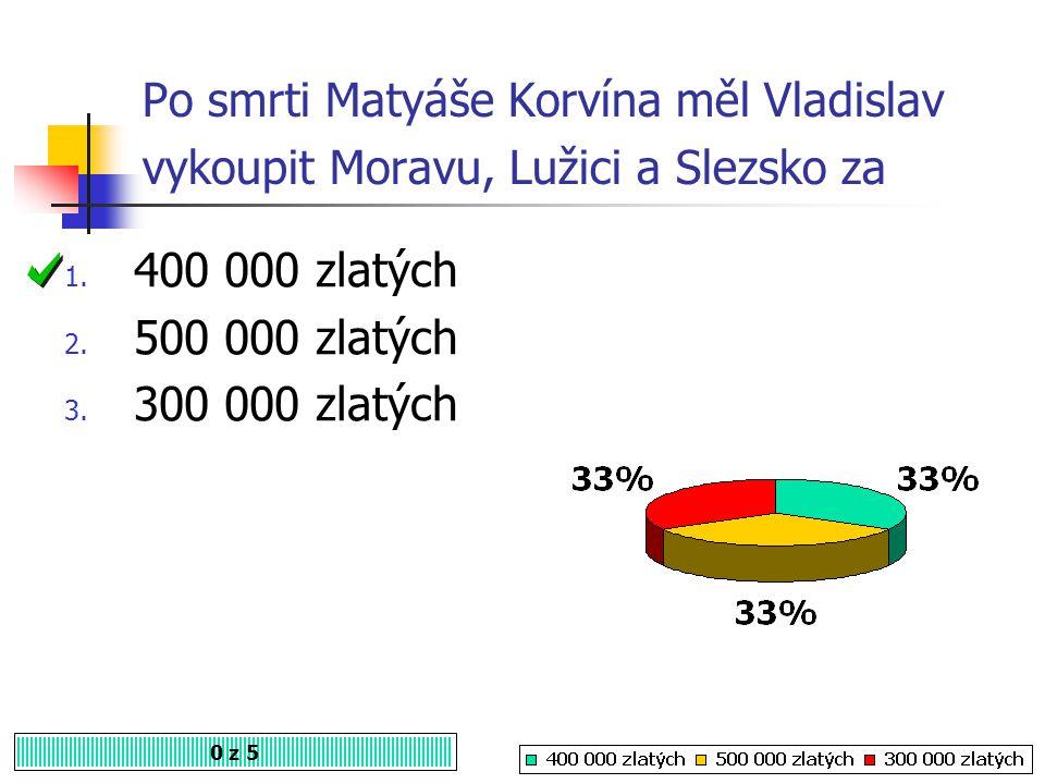 Po smrti Matyáše Korvína měl Vladislav vykoupit Moravu, Lužici a Slezsko za 0 z 5 1.