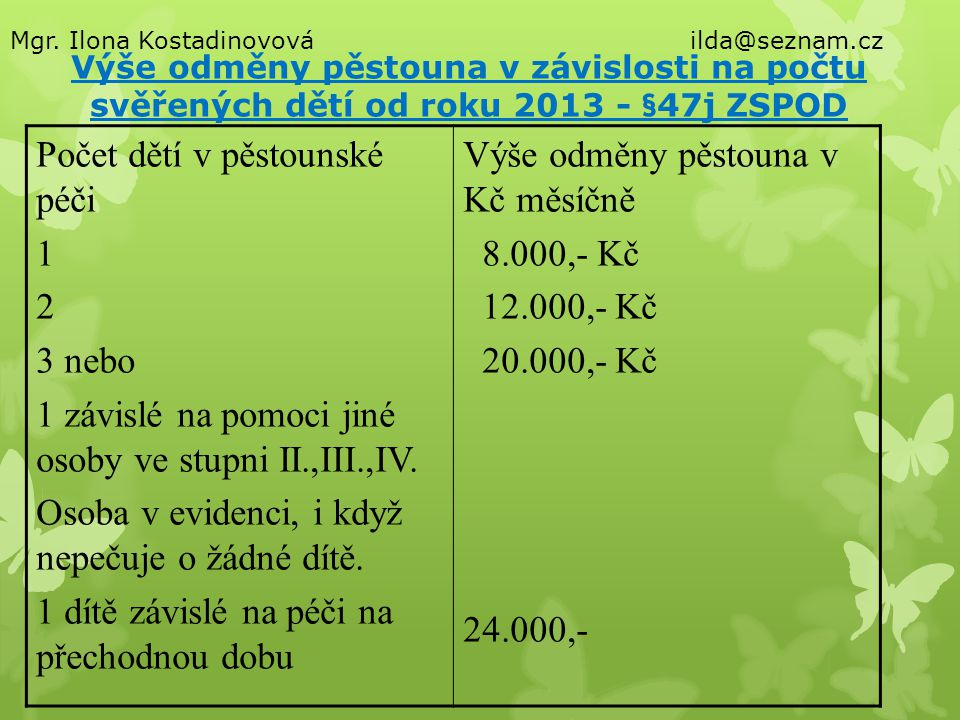 Výše odměny pěstouna v závislosti na počtu svěřených dětí od roku 2013 - §47j ZSPOD Počet dětí v pěstounské péči 1 2 3 nebo 1 závislé na pomoci jiné o