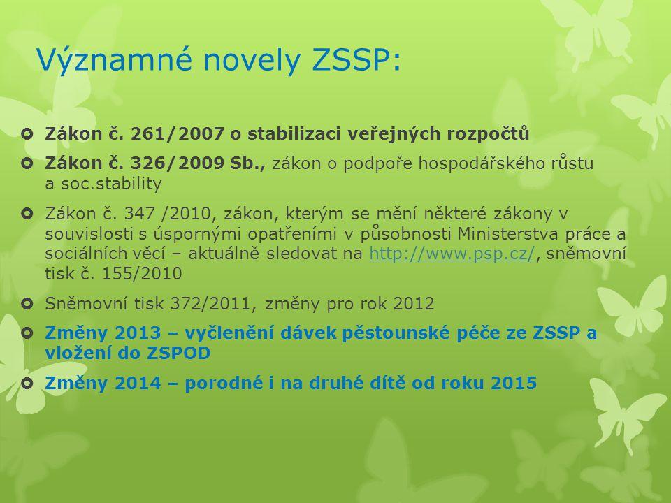 Významné novely ZSSP:  Zákon č. 261/2007 o stabilizaci veřejných rozpočtů  Zákon č. 326/2009 Sb., zákon o podpoře hospodářského růstu a soc.stabilit