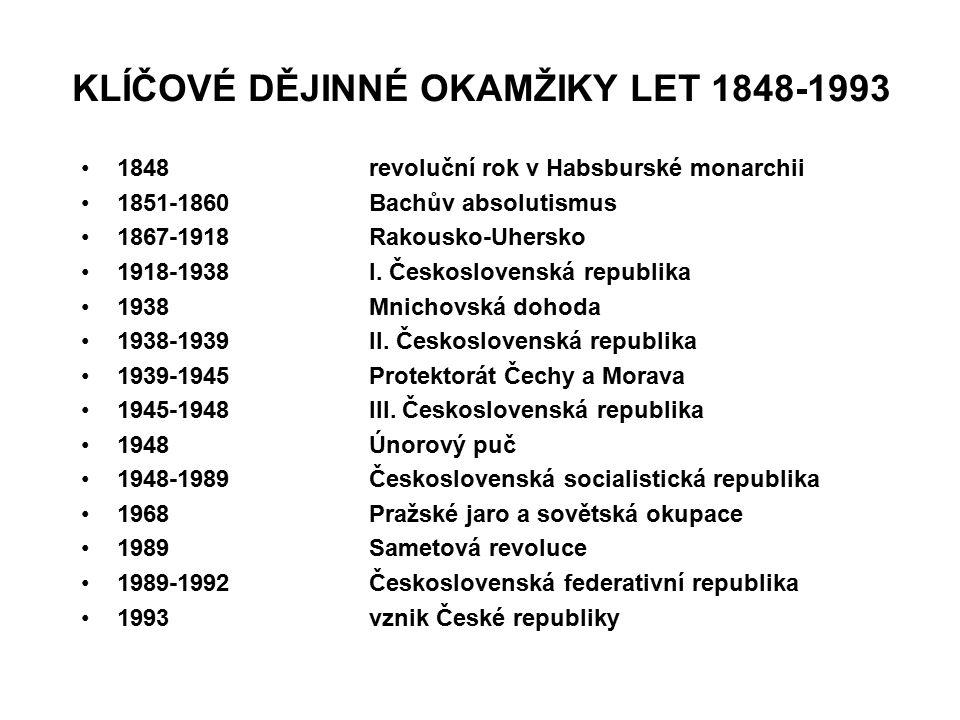 KLÍČOVÉ DĚJINNÉ OKAMŽIKY LET 1848-1993 1848revoluční rok v Habsburské monarchii 1851-1860Bachův absolutismus 1867-1918Rakousko-Uhersko 1918-1938I. Čes