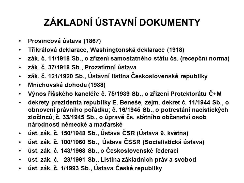 ZÁKLADNÍ ÚSTAVNÍ DOKUMENTY Prosincová ústava (1867) Tříkrálová deklarace, Washingtonská deklarace (1918) zák. č. 11/1918 Sb., o zřízení samostatného s