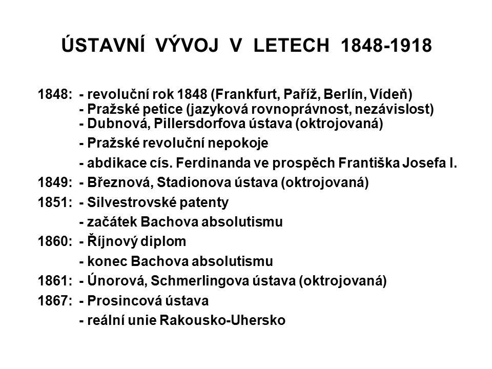 ÚSTAVNÍ VÝVOJ V LETECH 1848-1918 1848:- revoluční rok 1848 (Frankfurt, Paříž, Berlín, Vídeň) - Pražské petice (jazyková rovnoprávnost, nezávislost) -