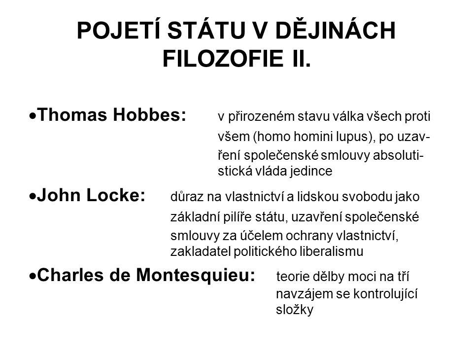 POJETÍ STÁTU V DĚJINÁCH FILOZOFIE II.  Thomas Hobbes: v přirozeném stavu válka všech proti všem (homo homini lupus), po uzav- ření společenské smlouv