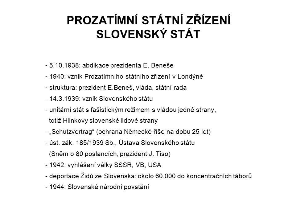 PROZATÍMNÍ STÁTNÍ ZŘÍZENÍ SLOVENSKÝ STÁT - 5.10.1938: abdikace prezidenta E. Beneše - 1940: vznik Prozatímního státního zřízení v Londýně - struktura:
