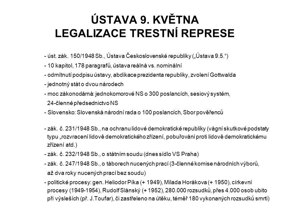 """ÚSTAVA 9. KVĚTNA LEGALIZACE TRESTNÍ REPRESE - úst. zák. 150/1948 Sb., Ústava Československé republiky (""""Ústava 9.5."""") - 10 kapitol, 178 paragrafů, úst"""