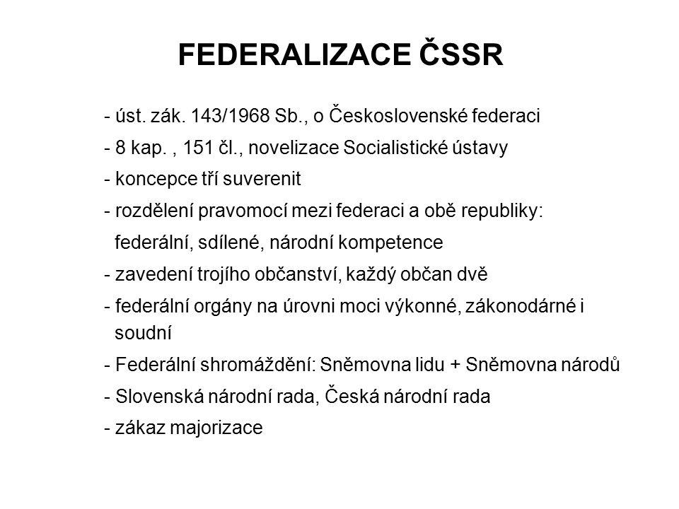 FEDERALIZACE ČSSR - úst. zák. 143/1968 Sb., o Československé federaci - 8 kap., 151 čl., novelizace Socialistické ústavy - koncepce tří suverenit - ro