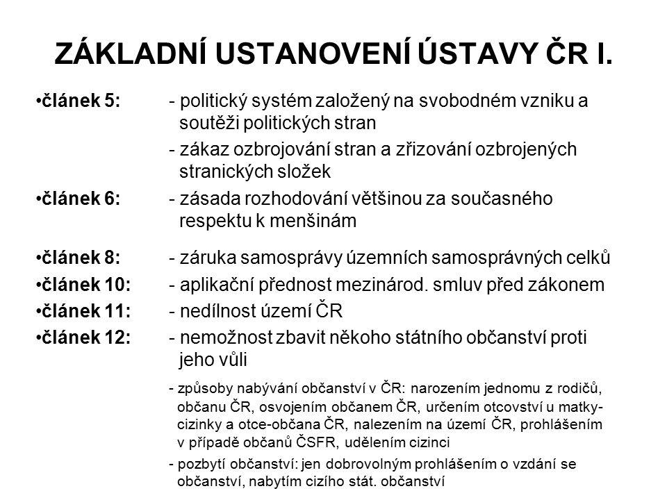 ZÁKLADNÍ USTANOVENÍ ÚSTAVY ČR I. článek 5:- politický systém založený na svobodném vzniku a soutěži politických stran - zákaz ozbrojování stran a zřiz