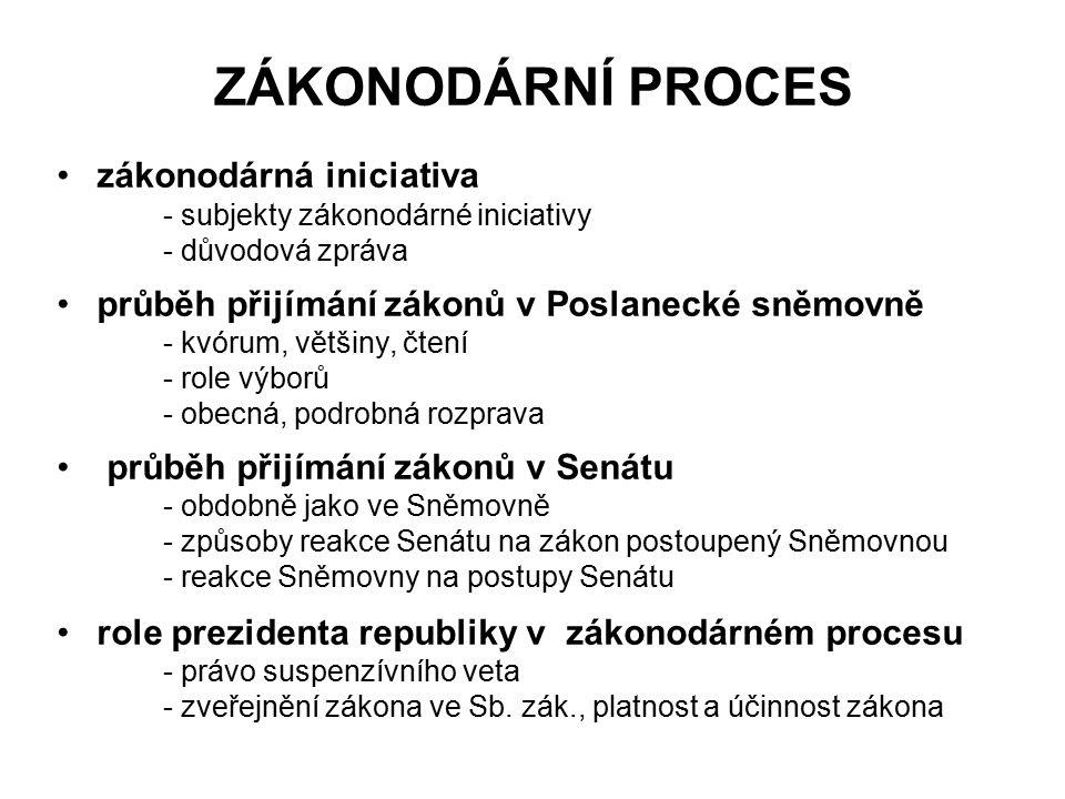 ZÁKONODÁRNÍ PROCES zákonodárná iniciativa - subjekty zákonodárné iniciativy - důvodová zpráva průběh přijímání zákonů v Poslanecké sněmovně - kvórum,