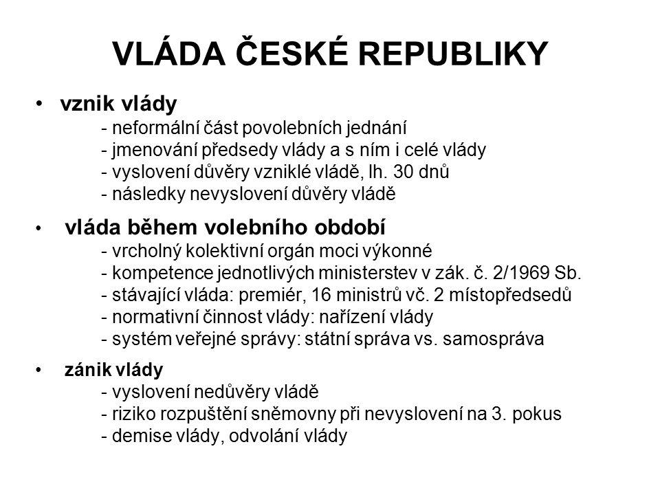 VLÁDA ČESKÉ REPUBLIKY vznik vlády - neformální část povolebních jednání - jmenování předsedy vlády a s ním i celé vlády - vyslovení důvěry vzniklé vlá