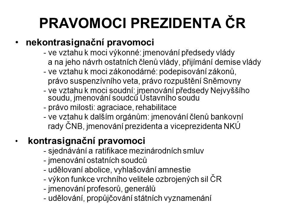 PRAVOMOCI PREZIDENTA ČR nekontrasignační pravomoci - ve vztahu k moci výkonné: jmenování předsedy vlády a na jeho návrh ostatních členů vlády, přijímá