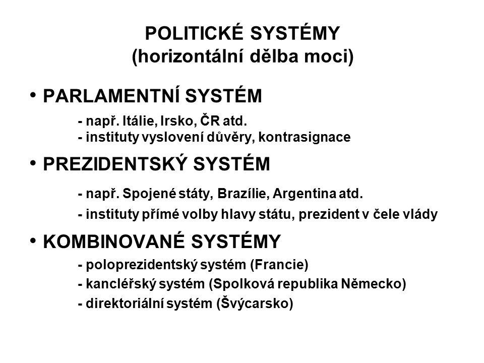 POLITICKÉ SYSTÉMY (horizontální dělba moci) PARLAMENTNÍ SYSTÉM - např. Itálie, Irsko, ČR atd. - instituty vyslovení důvěry, kontrasignace PREZIDENTSKÝ