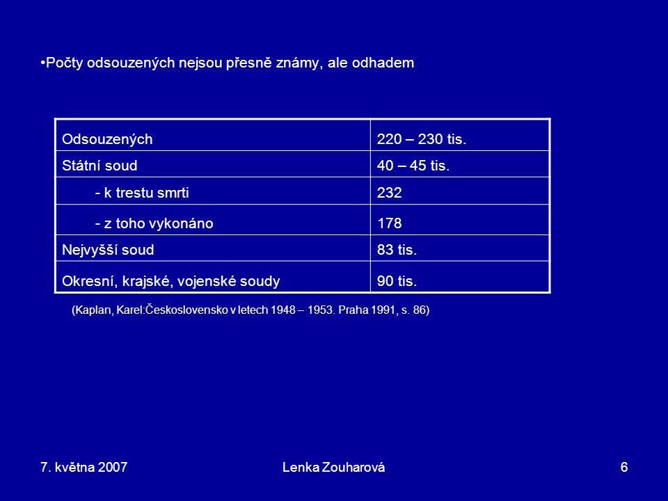 7. května 2007Lenka Zouharová6 Počty odsouzených nejsou přesně známy, ale odhadem (Kaplan, Karel:Československo v letech 1948 – 1953. Praha 1991, s. 8