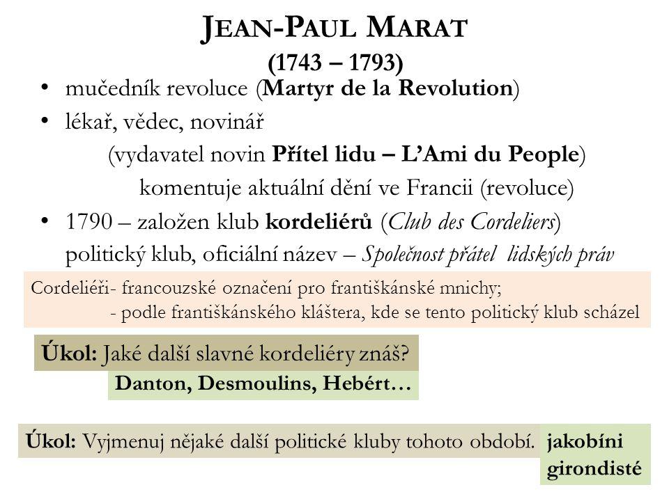 Danton, Desmoulins, Hebért… J EAN -P AUL M ARAT (1743 – 1793) mučedník revoluce (Martyr de la Revolution) lékař, vědec, novinář (vydavatel novin Přítel lidu – L'Ami du People) komentuje aktuální dění ve Francii (revoluce) 1790 – založen klub kordeliérů (Club des Cordeliers) politický klub, oficiální název – Společnost přátel lidských práv Úkol: Jaké další slavné kordeliéry znáš.