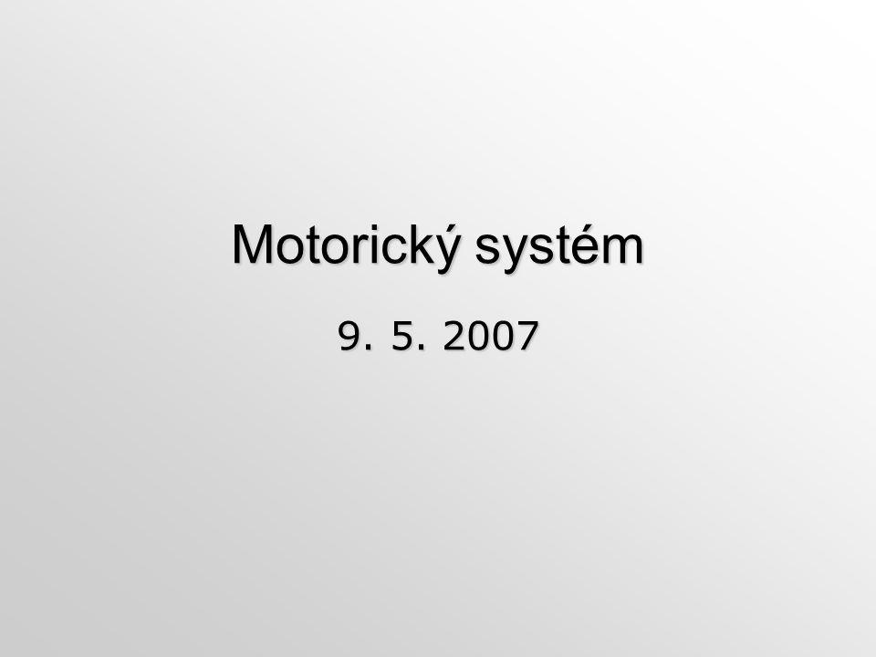 Motorický systém 9. 5. 2007