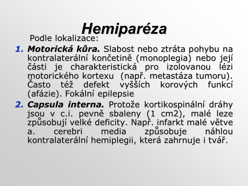 Hemiparéza Podle lokalizace: Podle lokalizace: 1.Motorická kůra. Slabost nebo ztráta pohybu na kontralaterální končetině (monoplegia) nebo její části
