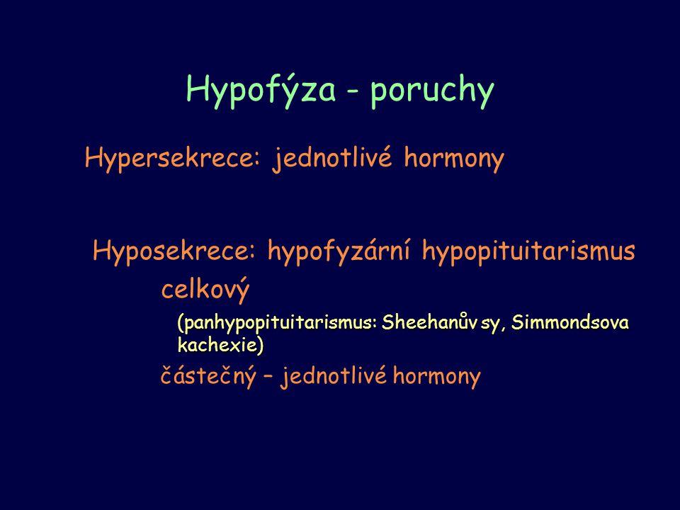 Hypofýza - poruchy Hyposekrece: hypofyzární hypopituitarismus celkový (panhypopituitarismus: Sheehanův sy, Simmondsova kachexie) částečný – jednotlivé
