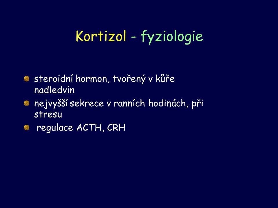 Kortizol - fyziologie steroidní hormon, tvořený v kůře nadledvin nejvyšší sekrece v ranních hodinách, při stresu regulace ACTH, CRH