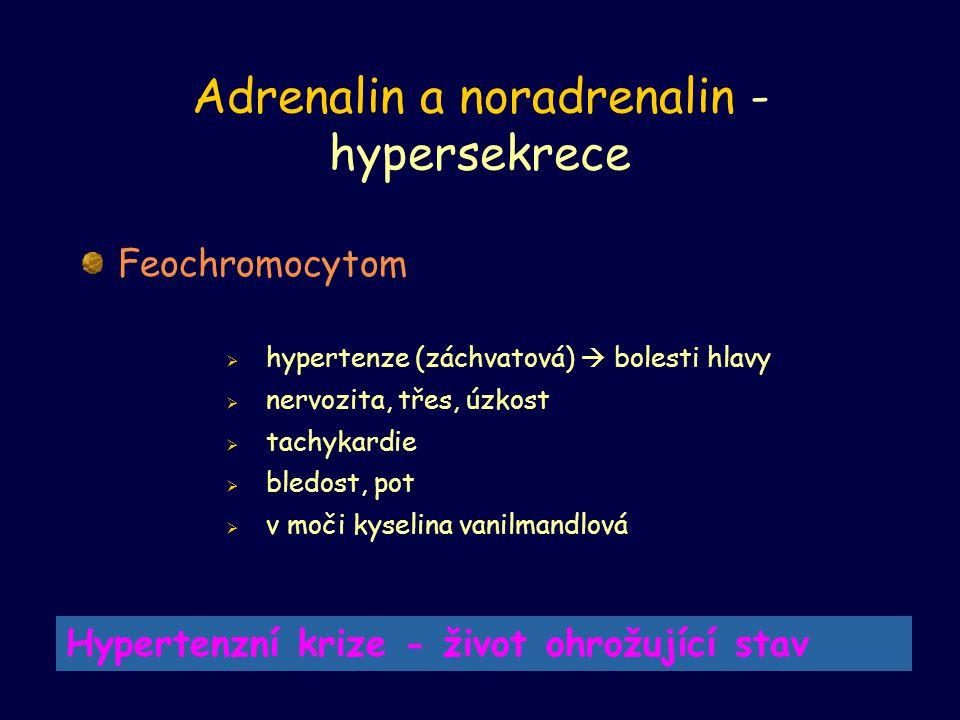 Adrenalin a noradrenalin - hypersekrece Feochromocytom  hypertenze (záchvatová)  bolesti hlavy  nervozita, třes, úzkost  tachykardie  bledost, po