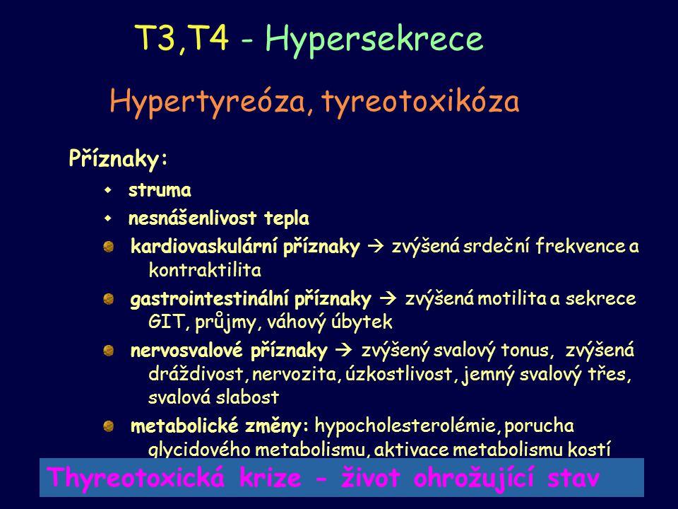 T3,T4 - Hypersekrece Hypertyreóza, tyreotoxikóza Příznaky:  struma  nesnášenlivost tepla kardiovaskulární příznaky  zvýšená srdeční frekvence a kon