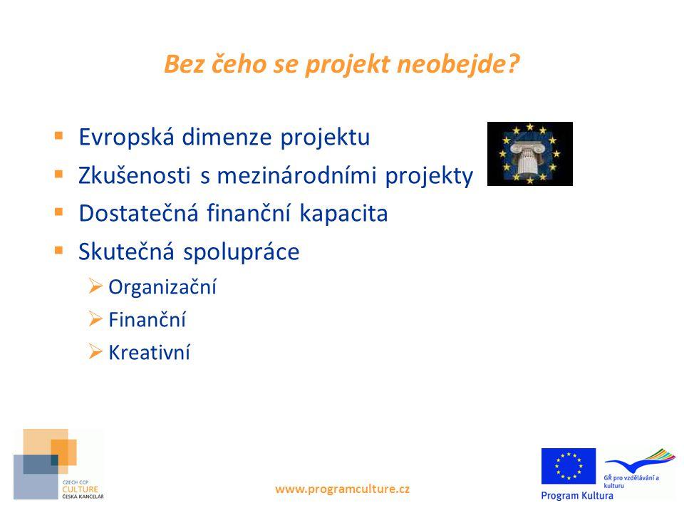 www.programculture.cz Bez čeho se projekt neobejde?  Evropská dimenze projektu  Zkušenosti s mezinárodními projekty  Dostatečná finanční kapacita 