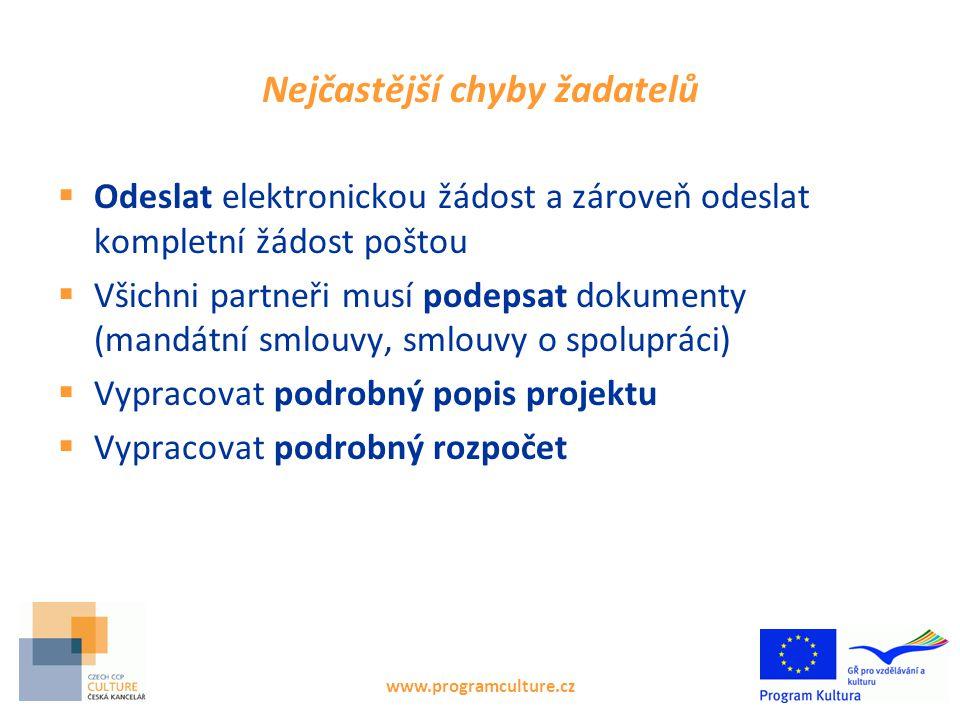 www.programculture.cz Nejčastější chyby žadatelů  Odeslat elektronickou žádost a zároveň odeslat kompletní žádost poštou  Všichni partneři musí pode