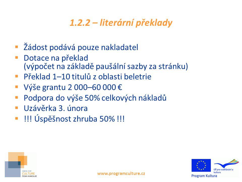 www.programculture.cz 1.2.2 – literární překlady  Žádost podává pouze nakladatel  Dotace na překlad (výpočet na základě paušální sazby za stránku)  Překlad 1–10 titulů z oblasti beletrie  Výše grantu 2 000–60 000 €  Podpora do výše 50% celkových nákladů  Uzávěrka 3.