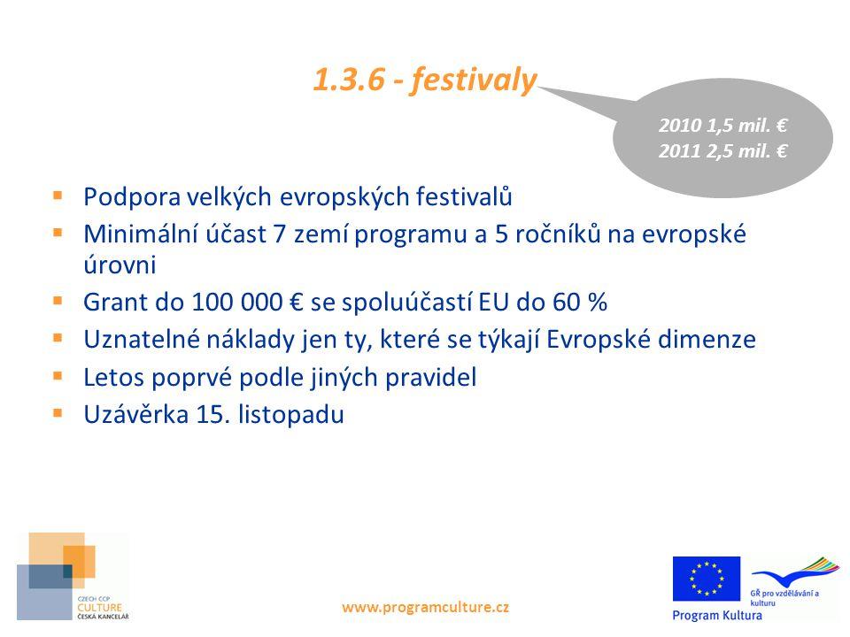 www.programculture.cz 1.3.6 - festivaly  Podpora velkých evropských festivalů  Minimální účast 7 zemí programu a 5 ročníků na evropské úrovni  Grant do 100 000 € se spoluúčastí EU do 60 %  Uznatelné náklady jen ty, které se týkají Evropské dimenze  Letos poprvé podle jiných pravidel  Uzávěrka 15.