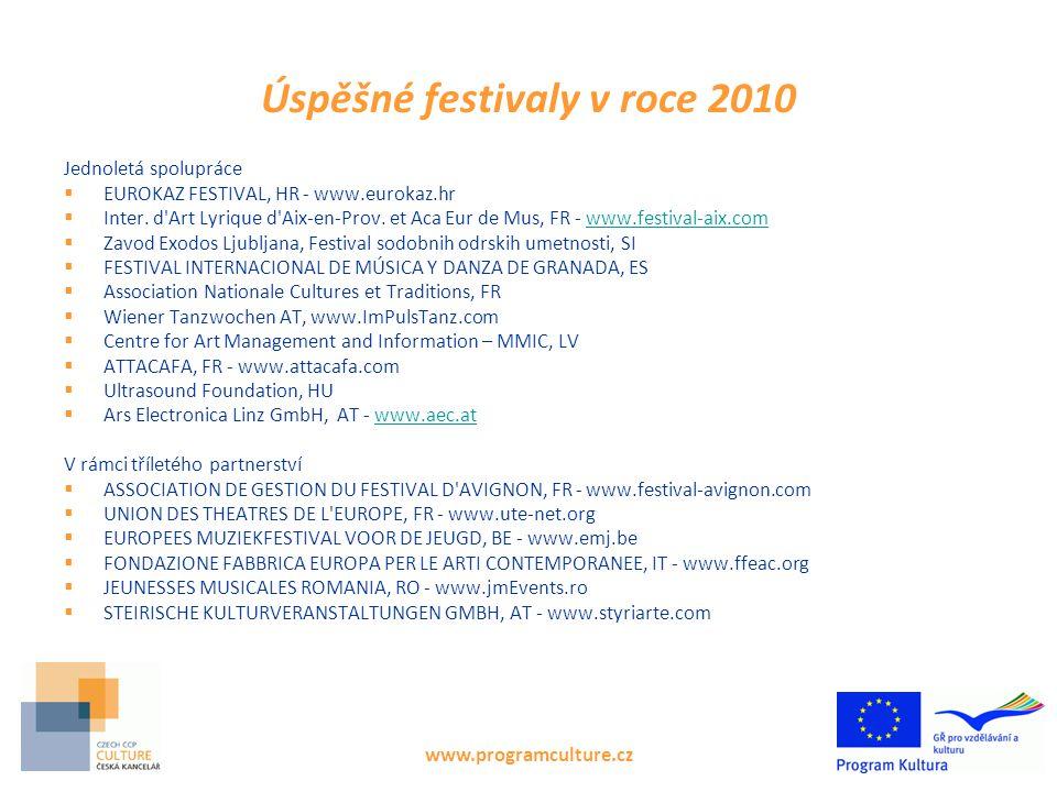 www.programculture.cz Úspěšné festivaly v roce 2010 Jednoletá spolupráce  EUROKAZ FESTIVAL, HR - www.eurokaz.hr  Inter. d'Art Lyrique d'Aix-en-Prov.